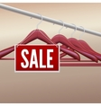 Wooden clothes hangers with sale label vector image vector image
