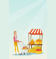 young caucasian woman pushing a supermarket cart vector image vector image