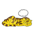 cartoon resting tiger with thought bubble vector image