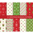 10 Christmas different seamless patterns Endless vector image vector image
