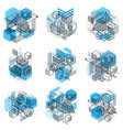 abstract designs with 3d linear mesh shapes and vector image vector image