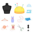 atelier and sewing cartoon icons in set collection vector image
