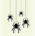 background pattern hanging spiders on web vector image vector image