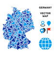 blue triangle germany map vector image