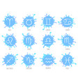 blue zodiac symbols set astrology signs vector image