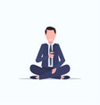 businessman sitting lotus pose young business man vector image vector image