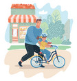 caring dad teaching daughter to ride bike vector image
