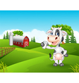 Cartoon cow holding glass in the farm vector image vector image
