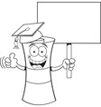 Cartoon diploma holding a sign vector image vector image