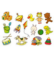 cartoon kid toy set isolated on white background vector image
