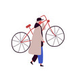 cartoon man in cap and cloak raising up bike vector image vector image