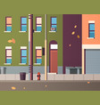 city building houses view autumn street leaves vector image