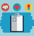 clipboard order with medical healthcare icons vector image