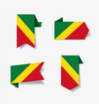 congolese flag stickers and labels vector image