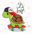 cute turtle with a red cap vector image vector image