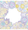 Doodle with flowers and birds square frame for vector image vector image