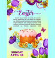 easter paschal cake paska kulich poster vector image vector image