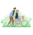 father teaching daughter to ride bicycle vector image vector image