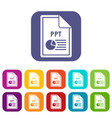file ppt icons set vector image vector image