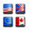 Flag square icons vector image vector image