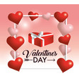 frame with hearts decoration to valentine vector image