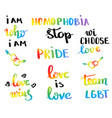 gay pride slogan with hand written lettering vector image