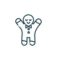 Gingerbread man happy christmas line icon