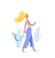 girl walk with phone in her hand vector image