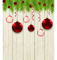 Green fir branches and red baubles vector image vector image