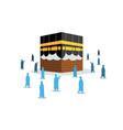 hajj pilgrimage silhouette move to kaaba vector image vector image