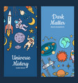 hand drawn space elements web banners vector image vector image