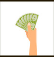 hand holding money vector image vector image