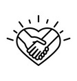 handshake in heart love human rights day line vector image vector image