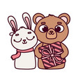 happy valentines day cute bear with gift and vector image vector image