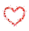 Heart contour made up of little pink and red vector image vector image