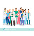 hospital team isolated on white background vector image vector image