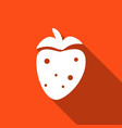 icon strawberry with a long shadow vector image vector image