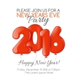 Invitation to New Year party with red balloons vector image vector image