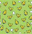 little chickens and eggs seamless pattern vector image