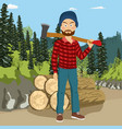 lumberjack man holding big axe in forest vector image vector image