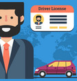 man with driver license and car vector image vector image