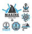 marine and nautical logo templates or heraldic vector image vector image