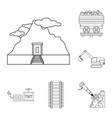 mining industry outline icons in set collection vector image vector image