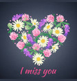 miss you card with floral heart vector image vector image