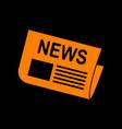 newspaper sign orange icon on black background vector image vector image