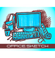 office sketch vector image