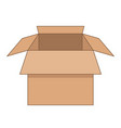 open cartoon flat cardboard box on white vector image vector image