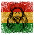 portrait rastaman and cannabis leaves vector image
