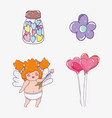 set candies bottle with cupid and hearts balloons vector image