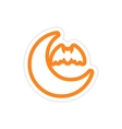 sticker new moon and a bat on a white background vector image vector image